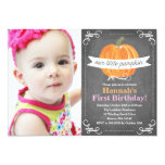 "Chalkboard Little Pumpkin Birthday 5"" X 7"" Invitation Card"