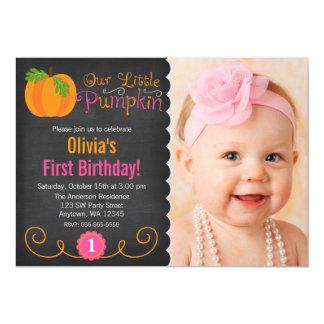 "Chalkboard Little Pumpkin Pink Orange Birthday 5"" X 7"" Invitation Card"