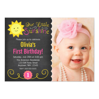 "Chalkboard Little Sunshine Pink Yellow Birthday 5"" X 7"" Invitation Card"