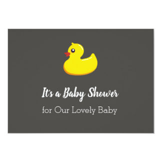 Chalkboard look baby shower - yellow rubber duck card