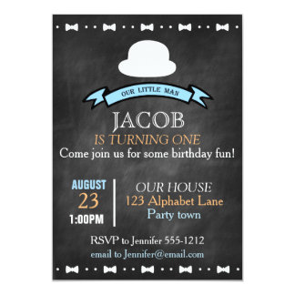 Chalkboard look boy's first birthday invitation