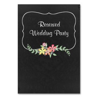 Chalkboard Look Floral Wedding Table Card