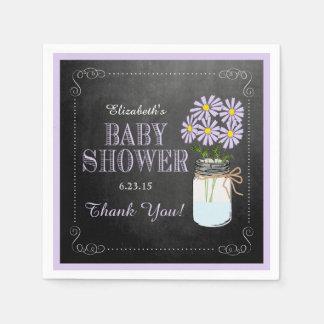 Chalkboard Look Lavender Mason Jar- Baby Shower Disposable Napkins