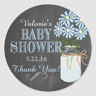 Chalkboard Look Mason Jar Blue Flowers Baby Shower Classic Round Sticker