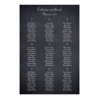 Chalkboard Look Table Seating Chart Poster