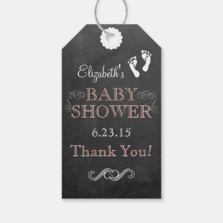 Chalkboard Look Vintage Typograhpy Peach Shower Gift Tags