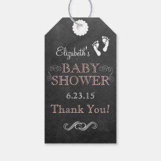 Chalkboard Look Vintage Typograhpy Peach Shower Gift Tags
