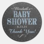 Chalkboard Look Vintage Typography Baby Shower Classic Round Sticker