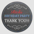 Chalkboard Look Vintage Typography Birthday Party Classic Round Sticker