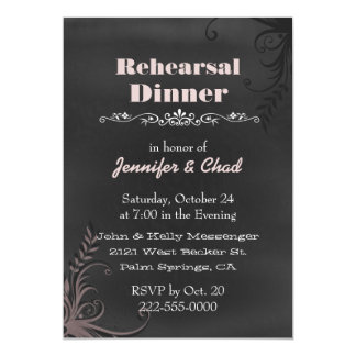"Chalkboard Look Wedding Rehearsal Dinner Custom 5"" X 7"" Invitation Card"