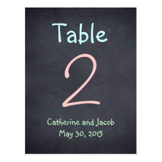 Chalkboard Look Wedding Table Number Card Postcard
