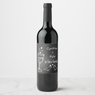 Chalkboard Look Wedding Wine Label