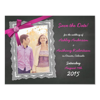 Chalkboard Magenta Bow Photo Wedding Save the Date Magnetic Card