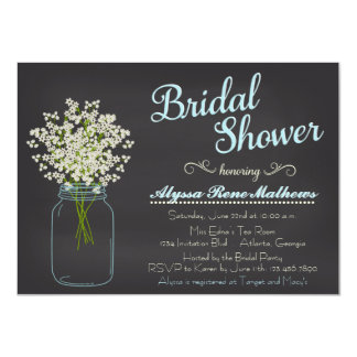 Chalkboard Mason Jar Baby's Breath Bridal Shower Card