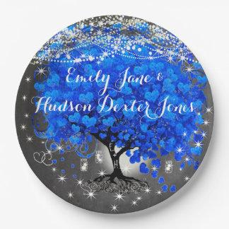 Chalkboard Mason Jar Blue Heart Leaf Firefly 9 Inch Paper Plate