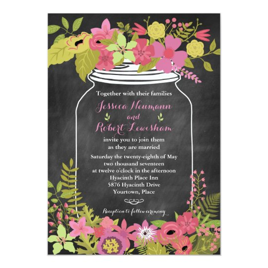 Chalkboard Mason Jar Coral Pink Floral Wedding Card