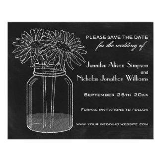 Chalkboard - Mason Jar - Daisies Save the Date Custom Flyer