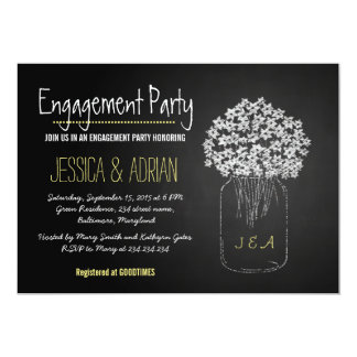 "Chalkboard Mason Jar Flowers Engagement Party 5"" X 7"" Invitation Card"