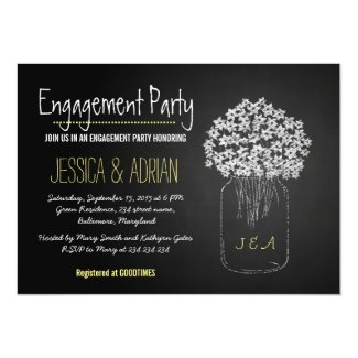 Chalkboard Mason Jar Flowers Engagement Party Card