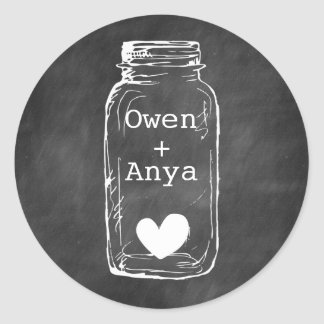 Chalkboard Mason Jar Names Heart Sticker