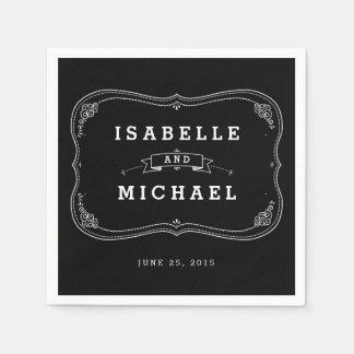 Chalkboard Mason Jar Personalized Wedding Napkin Paper Napkins