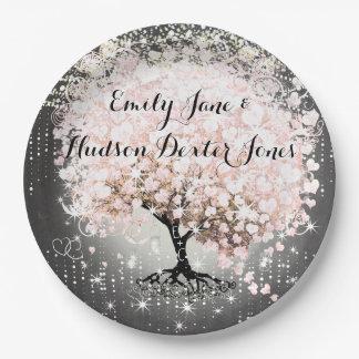 Chalkboard Mason Jar Pink Heart Leaf Firefly 9 Inch Paper Plate