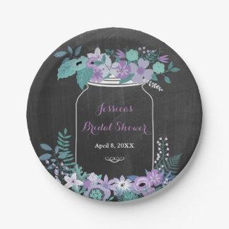 Chalkboard Mason Jar Purple Floral Bridal Shower 7 Inch Paper Plate