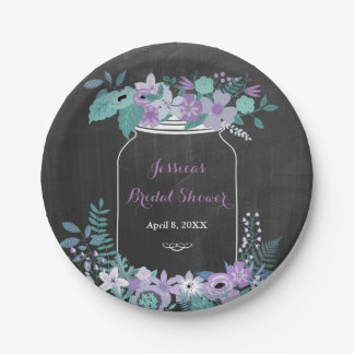 Chalkboard Mason Jar Purple Floral Bridal Shower Paper Plate