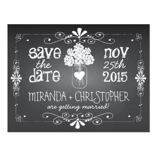 Chalkboard Mason Jar Save the Date Postcard