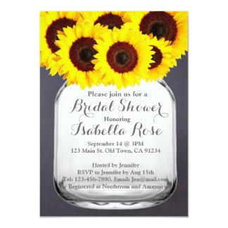 Chalkboard Mason Jar Sunflower Invitations