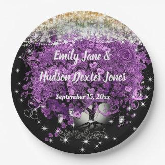 Chalkboard Mason Jar Ultra Violet Heart Leaf Tree Paper Plate