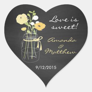 Chalkboard Mason Jar Wedding Favor Stickers