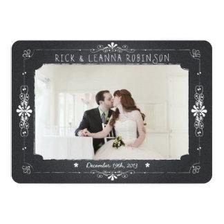 Chalkboard Mason Jar Wedding Photo Thank You Card