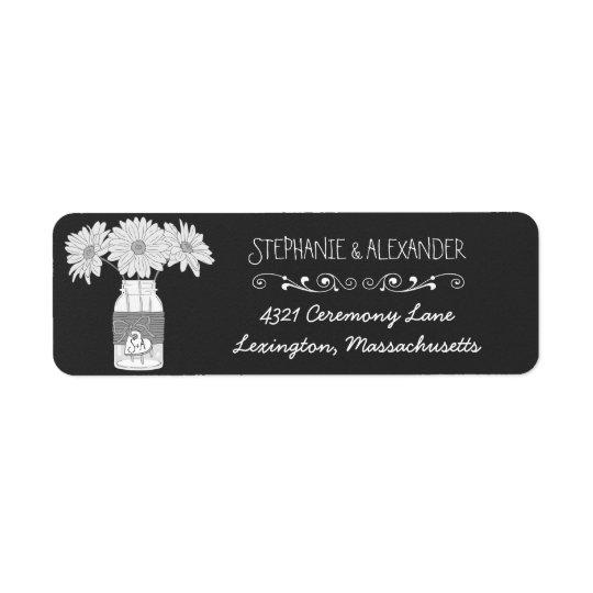 Chalkboard Mason Jar Wedding Return Address Labe