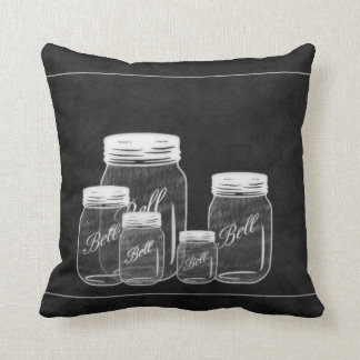 Chalkboard Mason Jars Decor Pillow