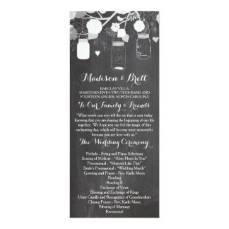 "Chalkboard Mason Jars Tea Length Wedding Program 4"" X 9.25"" Invitation Card"