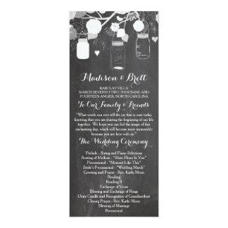 "Chalkboard Mason Jars Tea Length Wedding Program 4"" X 9.25"" Invitation Card"