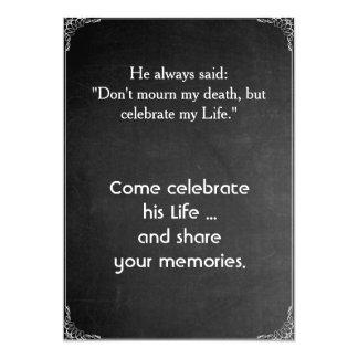 "Chalkboard ""Memorial Tribute Party"" Invitation"