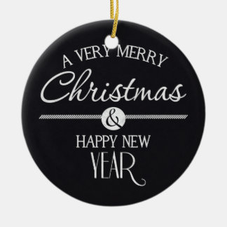 Chalkboard Merry Christmas and Happy New Year Ceramic Ornament