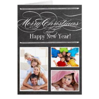 Chalkboard Merry Christmas Family Photo Card