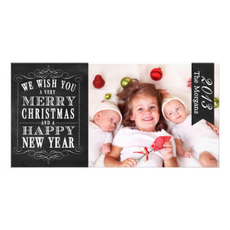 Chalkboard Merry Christmas, Happy New Year Card Photo Greeting Card