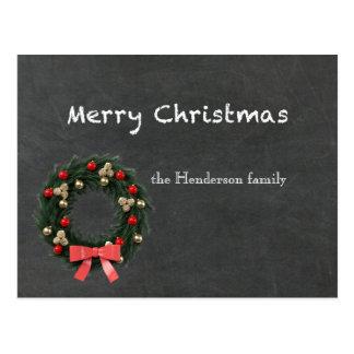 Chalkboard Merry Christmas Personalized Postcard
