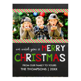 Chalkboard Merry Christmas Photo Greeting Card Postcard