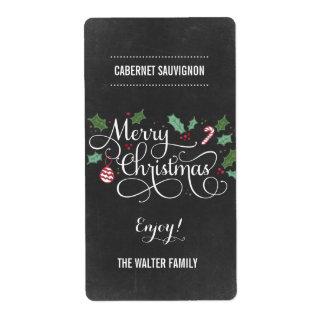 Chalkboard Merry Christmas Wine Bottle Labels