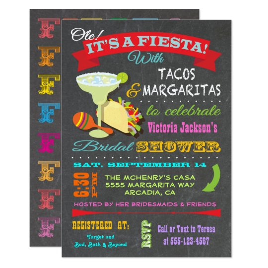 Chalkboard Mexican Fiesta Bridal Shower Card
