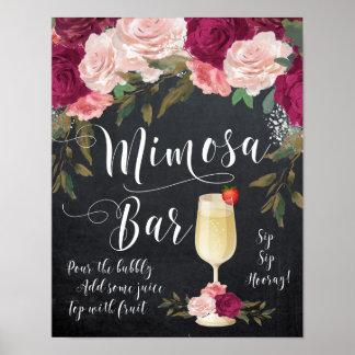 Chalkboard Mimosa Bar Sign burgundy floral Poster