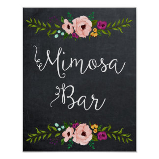 chalkboard mimosa bar sign floral poster