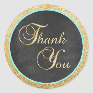 Chalkboard Mint Gold Glitter Thank You Envelope Classic Round Sticker