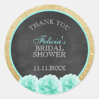 Chalkboard Mint Green Gold Glitter Bridal Shower Classic Round Sticker