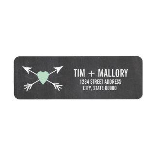 Chalkboard Mint Heart + Arrow | Wedding Labels